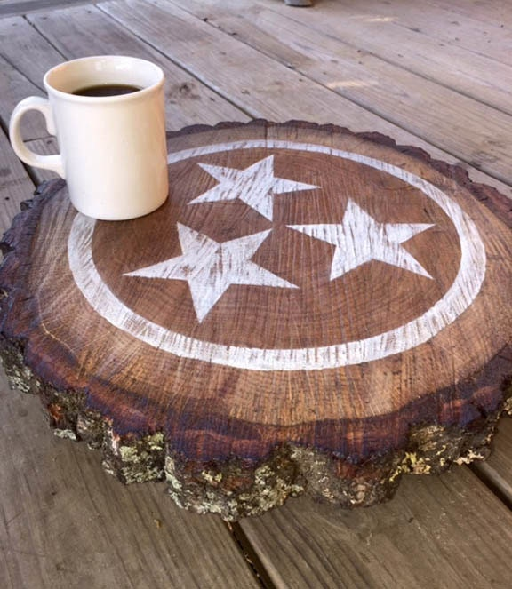 Etsy Wood Centerpiece : Tennessee tristar wood slice centerpiece by signniche on etsy