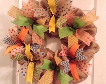 Summer Wreath/ Burlap Wreath/ Burlap Summer Wreath/ Burlap Door Hanging/ Summer Door Decor