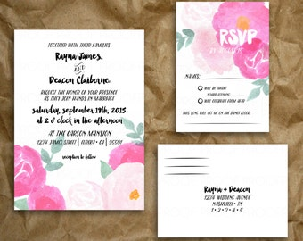Hand-painted Pink Floral Watercolor Invitation Set // Garden Peonies