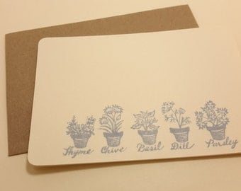 Fresh Herbs/ flat note cards/ kitchen note cards