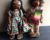 Vintage pair Mexico souvenir doll big eyes peasant
