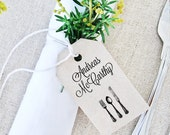 Place Card Tag Template, MEDIUM Black Cutlery Design, Wedding Tag, Gift Tag - Wedding Labels - Hang Tags, DIY Digital Printable