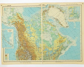 Canada Map, Large 1951 Vintage Map of Canada, old map, Zenithal Equidistant Projection map