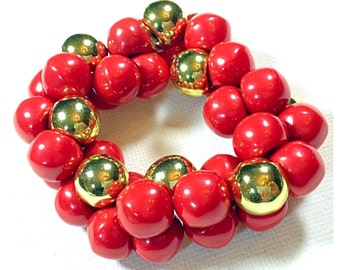 Lucite Cherry Red and Gold Bead Stretch Bracelet