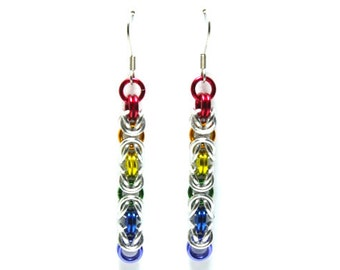 Rainbow and Silver Anodized Aluminum Byzantine Chainmaille Earrings