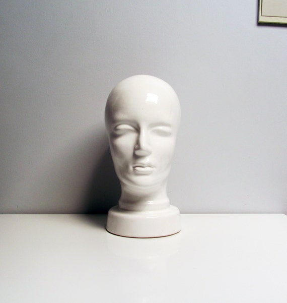 1960s White Vintage Ceramic Head Mannequin Display Or Hat
