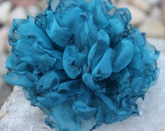 Large Teal Singed Organza Flower Brooch