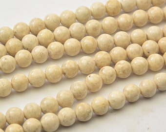 "15.5""   White   Fossil   Beads  Smooth  Round  ,Fossil   Stones 10mm-8mm"