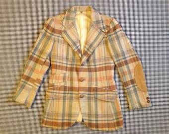 1960's, ladies, plaid, wool, equestrian blazer, by Ralph Lauren for Henri Bendel, Women size Small/Medium