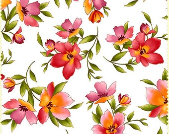 Catalina White/ Pink/ Peach Floral (8401-W) by Marti Michell for Maywood Studios - Yardage