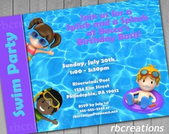Swim Party Digital Birthday Invitations ~ 4x6 or 5x7 Printable End of the Year Summer Pool Party