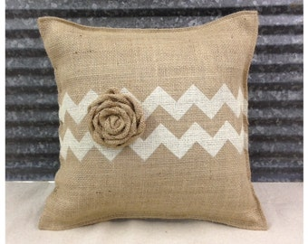 Burlap Pillow with Chevron and a burlap Rose - COMPLETE pillow