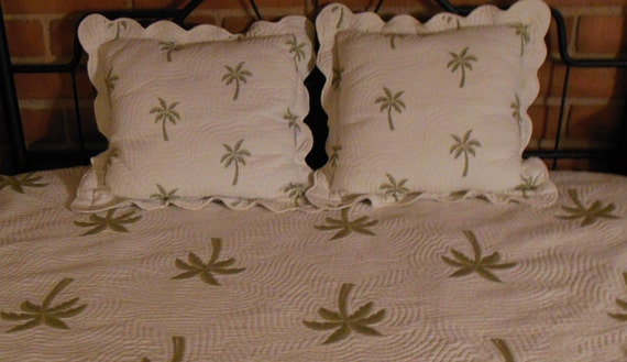 Palm Tree Quilt Sets: Palm Tree Quilt W Matching Pillows Quilted By VintageAndGems