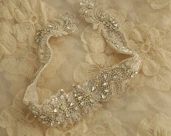 Super Luxurious Bridal Rhinestone Applique for Bridal Sash, Wedding Gown, Belt Accessories