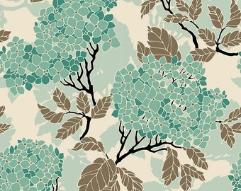 Birch Farm Hydrangea in Egg Blue Sateen by Joel Dewberry of Free Spirit Fabrics- By the Yard (Home Decor Weight Fabric) extra long 53""