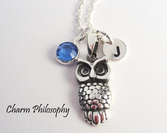 Sterling Silver Owl Necklace - Personalized Initial and Birthstone - Owl Pendant