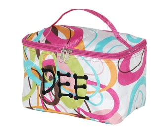 Large Cosmetic Bag | Cosmetic Travel Bag | Make Up Bag | Monogrammed Cosmetic Bag | Cosmetic Pouch | Personalized Cosmetic | Groovy Swirl