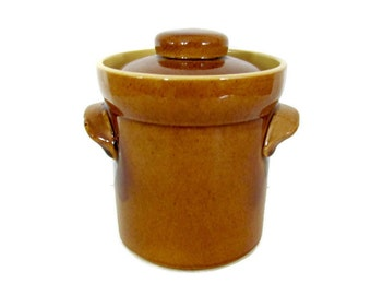 Vintage Brown Canister, 1970's TG Green Canister, Bean Pot, Ceramic Canister, 1970's, Mid Century Decor