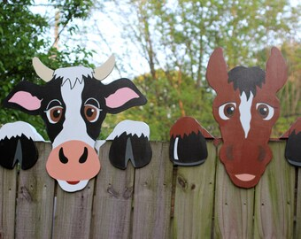 Set of 2, Cow & Horse Fence Peekers