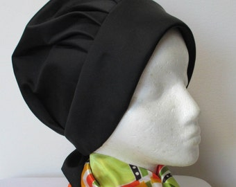 Vintage 1970 ladies Black Turban design Hat