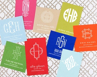 Rectangle - Personalized Monogram Calling Cards