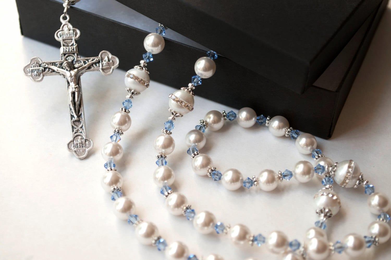 Something Blue Catholic Wedding Rosary Swarovski Pearl