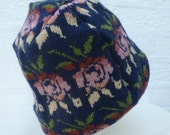Beanie pink rose hat bohemian accessory wool beanie hat floral gift handmade chunky winter hat boho beanie ecofriendly hat convertible wear