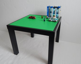"""LEGO® Table. Large 20""""x20"""" Green LEGO® Base Plate Building Surface on Black Table"""