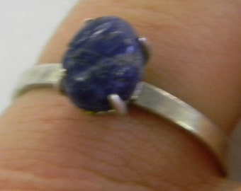 Sterling Silver 925 Adorable Blue Lapis Band Ring Size 9 #6107