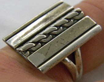 Sterling Silver 925 Fun Fashion Rectangle Top Ring Size 8 1/4 #6115