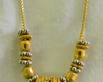 """Sterling Silver 925 Gold Vermeil Beads and Pieces Necklace, Chain is 15 1/2"""" in length #6228"""