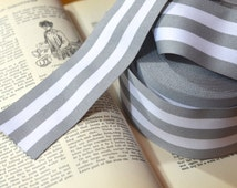 grey and white grosgrain striped ribbon