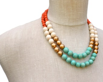 mint and orange necklace / summer necklace / summer jewelry / colorful beaded necklace / mint gold orange white necklace / boho necklace