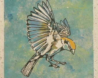 Incoming Sparrow, linocut print