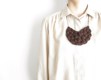 Brown Rope necklace Rope knot necklace Statement necklace