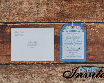 Custom Luggage Tag Wedding Invitations -  Destination Wedding Invites  | Handmade in Canada by ---- www.empireinvites.ca ---