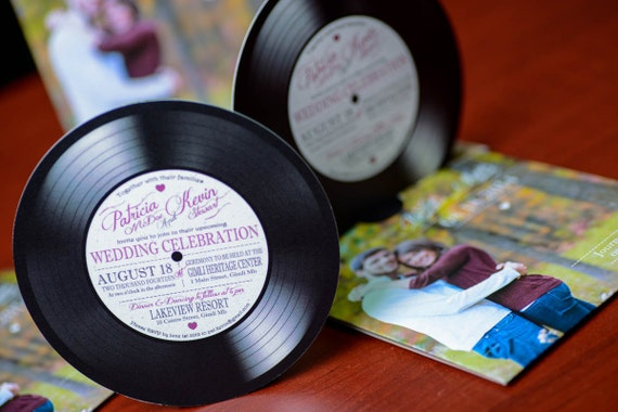 Vinyl record wedding invitations for music lovers invites for Etsy vinyl wedding invitations