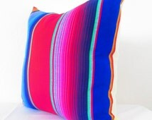 Tribl Pillow, Serape Pillow, Mexican Pillow Cover, Decorative Pillow Cover, Aztec, Mexican Cushion Cover, Bright, 16x16 Inch, Blue, Red