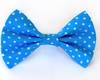 Ocean blue polka dot cat bow tie & dog bow tie