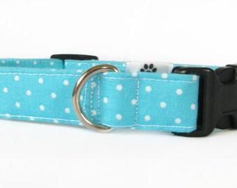 Aqua blue polka dot dog collar & cat collar - adjustable with bell (optional)