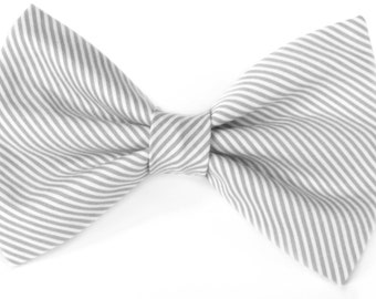 Grey and white striped - cat bow tie, dog bow tie, collar attachment