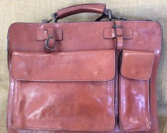 Great vintage I PONTI tan leather briefcase portfolio