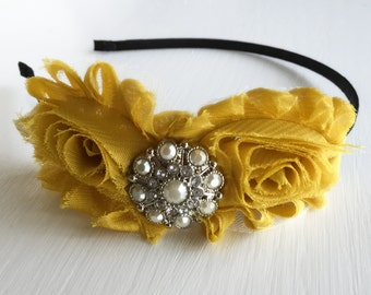 ON SALE Hand Crafted Mustard Headband - Mustard Yellow - Old Gold Headband - Shabby Flower Headband - Adult Headband - Mustard Hair Piece -