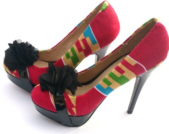Pink and black ladies platform shoes, Fabric Covered Shoe, kente shoe, Prom shoe, wedding(UK Size 7)