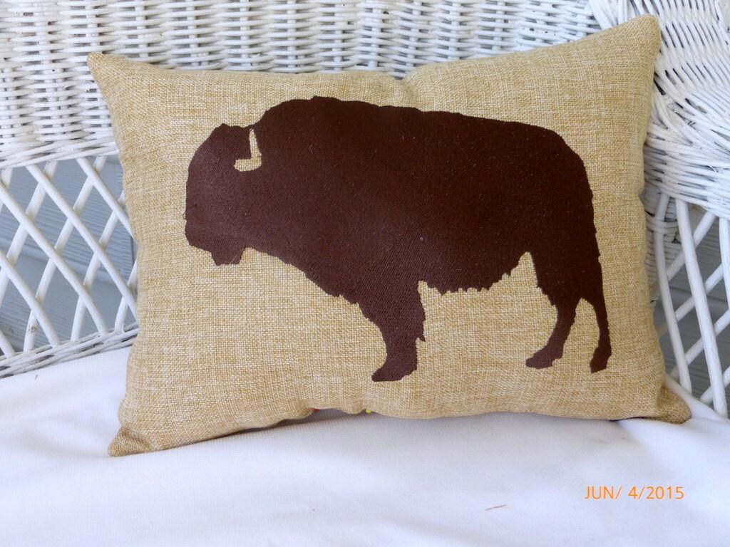 Embroidered buffalo pillow bison animal