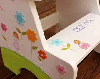 Kids Names, Baby Name Gift, Girls Step Stool, White Furniture, Personalized Step Stool, White Stool, Wooden Stool, Bathroom Furniture