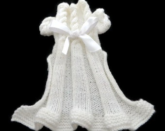 Dog clothes,  Knitted girl dog  dress, cat dress in white, Baby Pink,  Lemon  or  Mint Green  with  a White  satin bow trim.