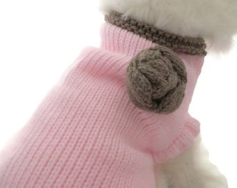 Dog  clothes, A dog sweater in Baby  Pink and Brown with a brown Rosette, knitted small dog coat fit a Shih Tzu, Jack Russell, Pug
