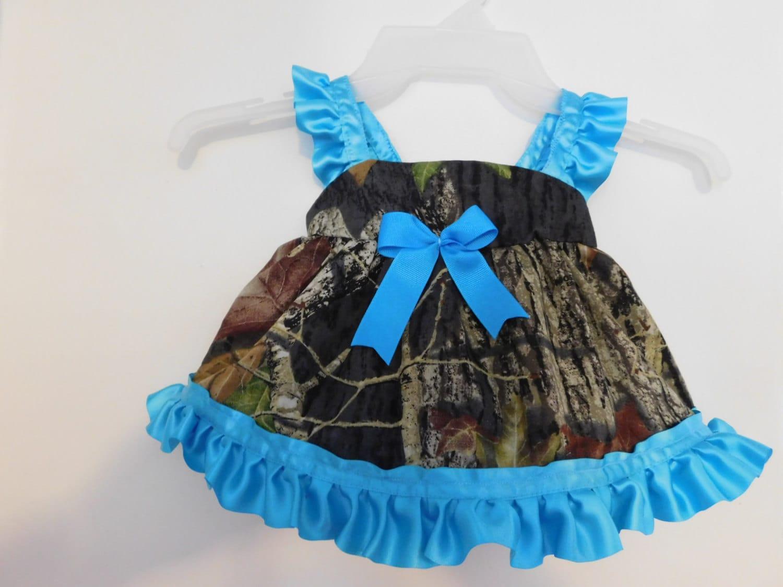 Blue Ruffle Camouflage Girls Dress Camo Dress And Bloomer