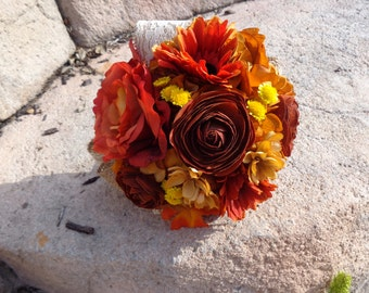 Bridesmaid  bouquet in fall hydrangea and dahlias